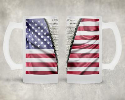 Patriotic Frosted Beer Steins