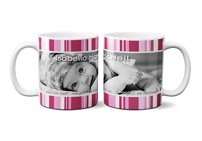 Pink and White Striped Baby Announcement Mug