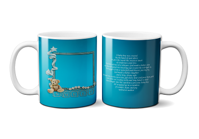 Solid Blue Baby Boy Announcement Mug